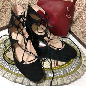 NWOT Zara lace up chunky heels shoes, sz 7